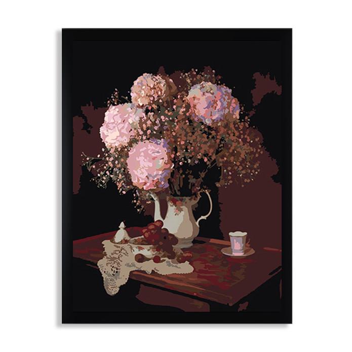 Раскраска по номерам Гортензии в вазе / Цветы / Каталог