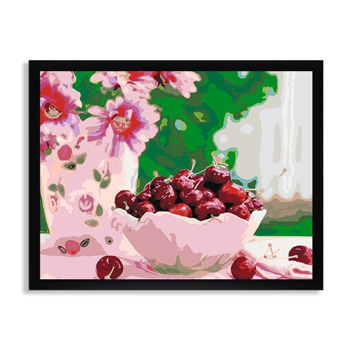 Раскраска по номерам Вишня в блюдце / Цветы / Каталог