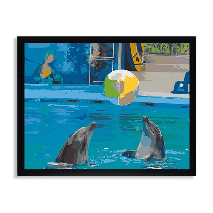 Раскраска по номерам Игра дельфинов / Подводный мир ...
